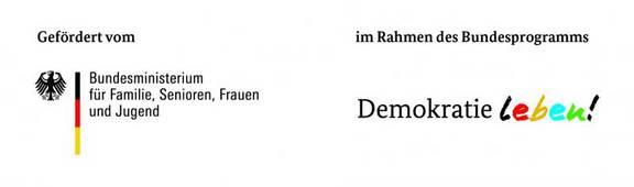 Logo des Foerderprogramms Demokratie leben! mit Foerderzusatz